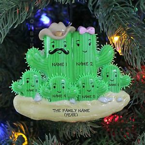 Cactus Family of 6 Personalized Christmas Tree Ornaments Holiday Gift 2016