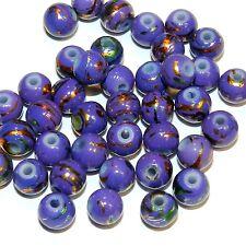 G4478h Purple Opaque 6mm Round Metallic Drawbench Glass Beads 40/pkg