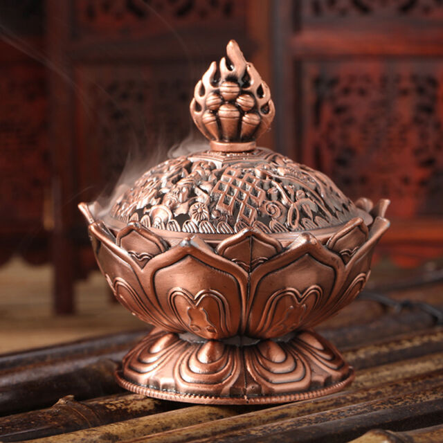 Red Copper Collectable Tibetan Lotus Figure Alloy Incense Burner Censer 1pcs  JR