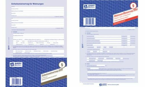 5x Avery Zweckform Vordruck Untermietvertrag blau A4 2 Seiten Vertrag Formular