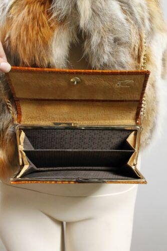 Tasche 80s Handtasche Vintage 80er Hand Krokolederoptik True Bag Black Echtleder frxPfBU