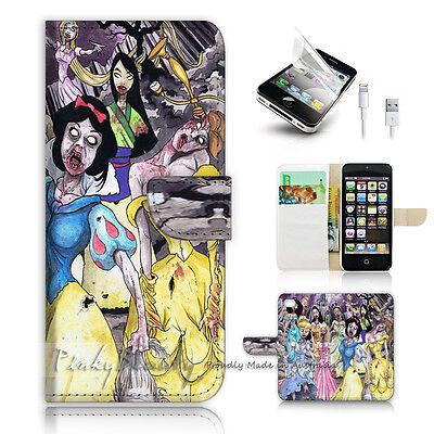 iPhone 5C Print Flip Wallet Case Cover! Zombie Princess P0403