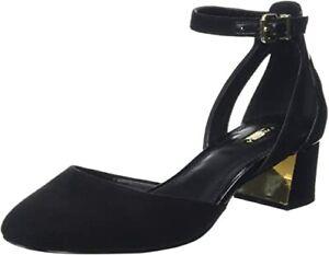 £ 99 Carvela Antonia Taglia 4 37 NERO F brevetto in pelle scamosciata tacco basso scarpe sandali BNWB