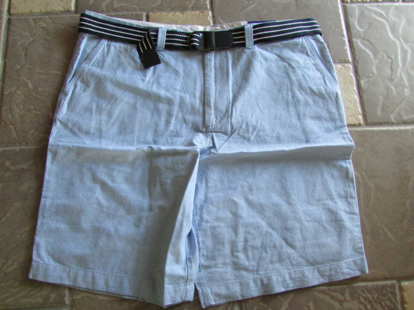 NEW LETIGRE LIGHT blueE BELTED SHORTS MENS 40 FLAT FRONT COTTON FREE SHIP