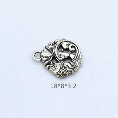 Tibetan silver Lucky fish charms spacer beads carved connectors jewelry findings