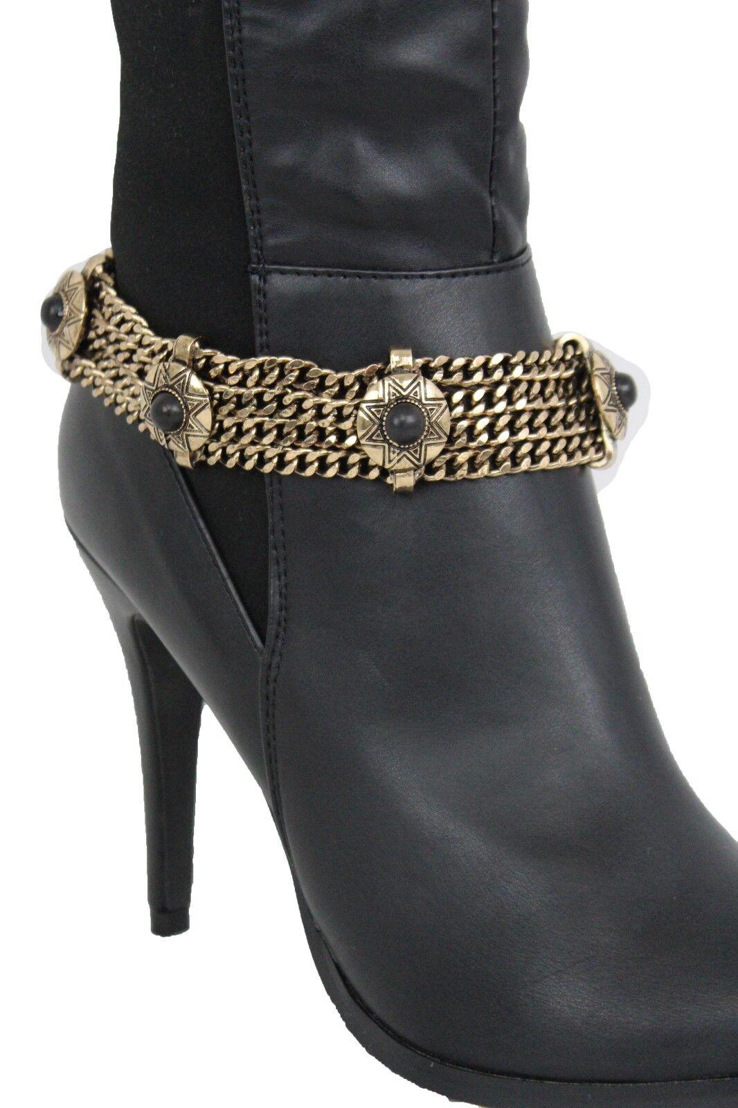 Women Boot Bracelet Antique Gold Metal Chain Shoe Antique Black Beads Sun Charms