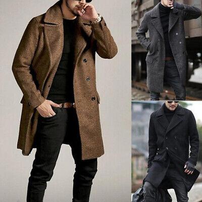 Uomo Caldo Inverno Bavero Cappotto Lana Trench Giacca Lunga Top | eBay