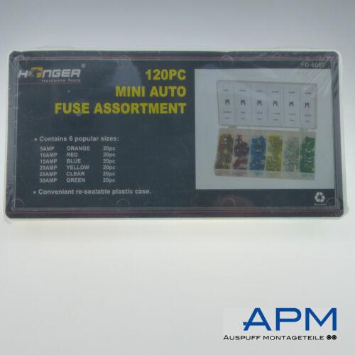 Kfz Mini Flachsicherungen Sortiment 120tlg Autosicherung Stecksicherung 5-30A
