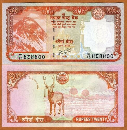 Deer 2010 P-62-New ND 20 Rupees Nepal UNC Everest