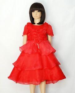58275a4dd Detalles de Vestido Niña de Fiesta Rojo Azul Rosa 6 9 12 18 24 Meses 3 4 5  6 Años