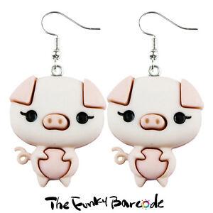e6eba2986 TFB - PRESLEY PIG DANGLE EARRINGS Funky Farm Animal Quirky Retro Pet ...