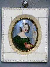 Miniatur Lupen Malerei auf Porzellan im Rahmen um 1900 - 1