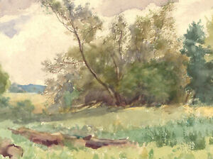 R-K-H-Jones-Mid-20th-Century-Watercolour-Down-by-the-River-at-Stopham