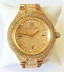 Michael Kors Watch Women Crystals Dial Gold Band Gold Case MK5720 Genuine VIP