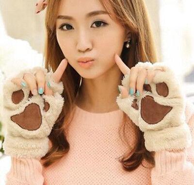NEW BRAND Winter Women Paw Gloves Fingerless Fluffy Bear Cat Plush Paw JB