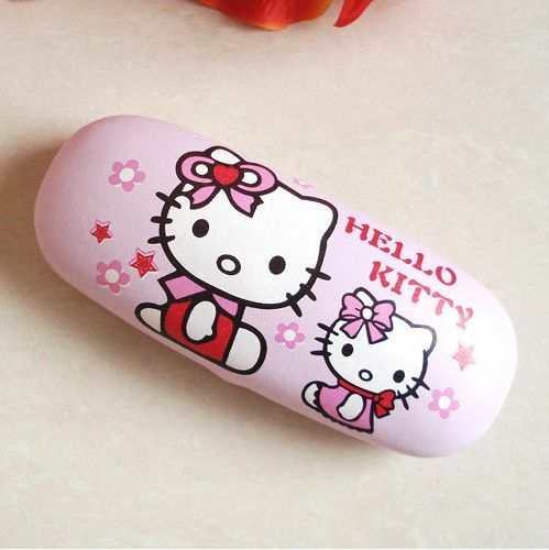 New Pink Lovely Cartoon Hellokitty Glasses box KT Cat Glasses box Free shipping