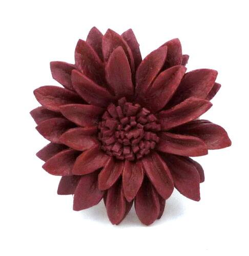 Handgemachter Edler Ring Blume Blüte aus Leder Braun Größenverstellbar