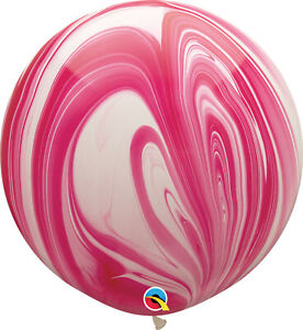 RAINBOW-BALLOONS-30-034-76cm-QUALATEX-RED-amp-WHITE-SUPERAGATE-PACK-OF-2-BALLOONS