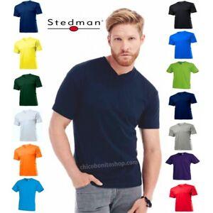 T-SHIRT-STEDMAN-ST2300-COTONE-SCOLLO-A-V-UOMO-MANICA-CORTA
