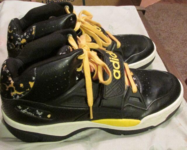 Men s adidas Mutombo C75344 Basketball Shoes Black   Yellow Size 14 ... 4438e8d67