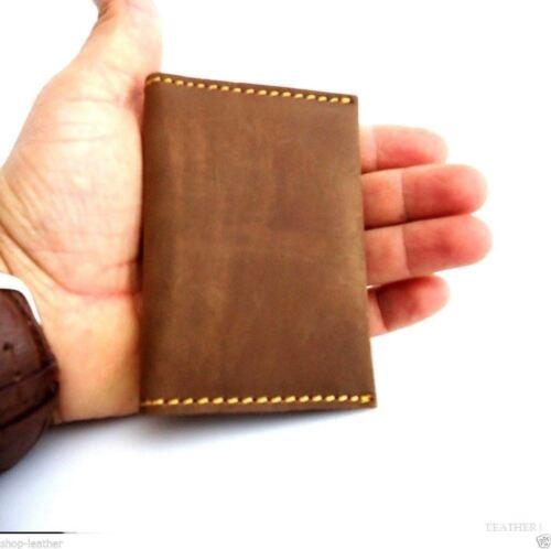 Men/'s Natural Soft Leather Credit Card Case 4 Slots 2 Slip Pockets Bifold Slim