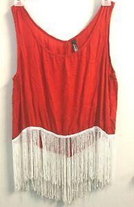 JADE-Red-Tank-Top-w-White-Fringe-size-Medium-OPEN-BACK-Med-M-Crop-Shirt-COSTUME