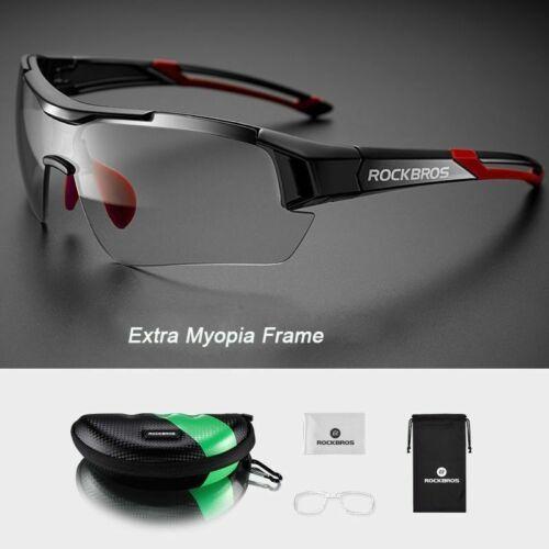 ROCKBROS Photochromic Cycling Bicycle Glasses MTB Bike Sunglasses Black red