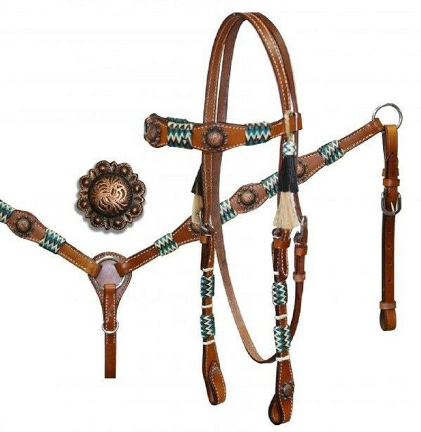 Showman Turquoise Brown Natural Rawhide Wrapped Headstall Breast Collar Reins