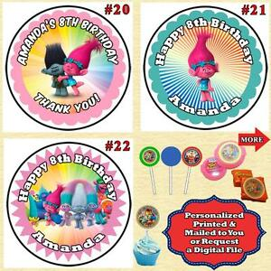 Image is loading Trolls-Birthday-Round-Stickers-Labels-1-sheet-Personalized-