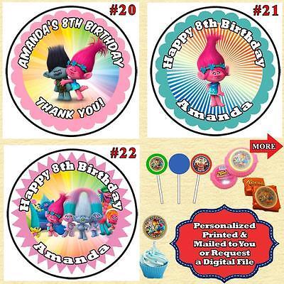 photograph regarding Printable Round Stickers named Trolls Birthday Spherical Stickers Labels 1 sheet Custom-made 3 measurements eBay