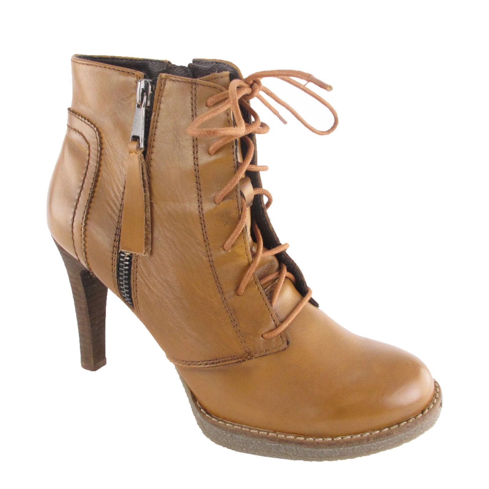 da734e000 SPM botín marrón de cuero nuevo zapatos señora tacón alto botín