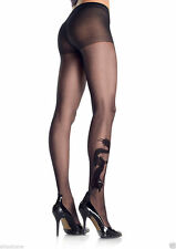 BEAUTIFUL SHEER BLACK DRAGON TATTOO TIGHTS  PANTYHOSE LEG AVENUE CRYSTAL