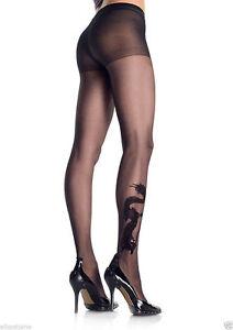 BEAUTIFUL-SHEER-BLACK-DRAGON-TATTOO-TIGHTS-PANTYHOSE-LEG-AVENUE-CRYSTAL