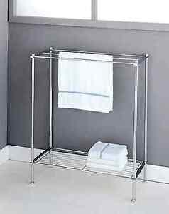 Image Is Loading Free Standing Chrome Metro 3 Bar Bathroom Towel
