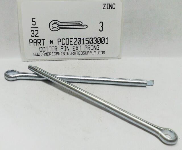 """3//16X2/"""" COTTER PIN EXTENDED PRONG STEEL ZINC PLATED 12"""