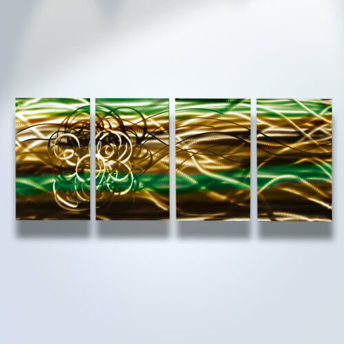Abstract Metal Wall Art Green Contemporary Modern Decor Torrent Brown
