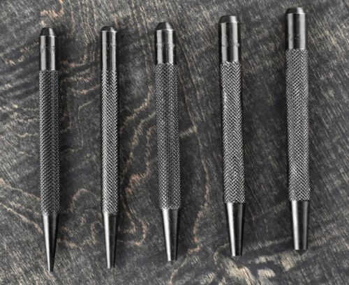 "5Pc Carbon Steel Center Punch Set Sizes 1//16/"" 1//8/"" 5//32/"" 3//16/"" 1//4/"""