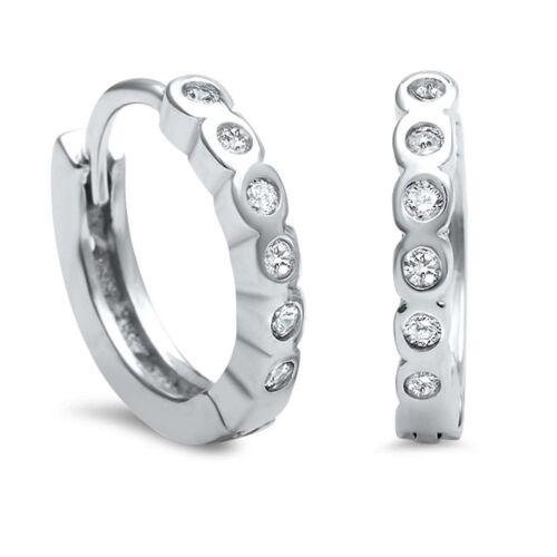 13mm Klappcreolen 925 Echt Silber mit Zirkonia Baby Mädchen Kinder Ohrringe CR01