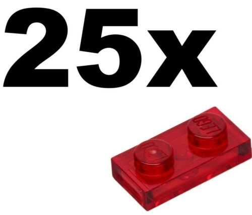 1 x 2 PLATES Transparent Red plate x 25-1x2 NEW LEGO