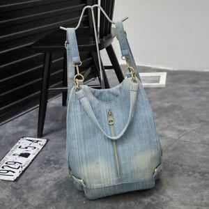 Convertible-Denim-Backpack-Rucksack-Daypack-Travel-Bag-Purse-Shoulder-Bag-Hobo