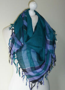 Green-Lavender-Black-Large-Square-Scarf-Silver-Lurex-Check-Stripe-Cotton-Mix-New