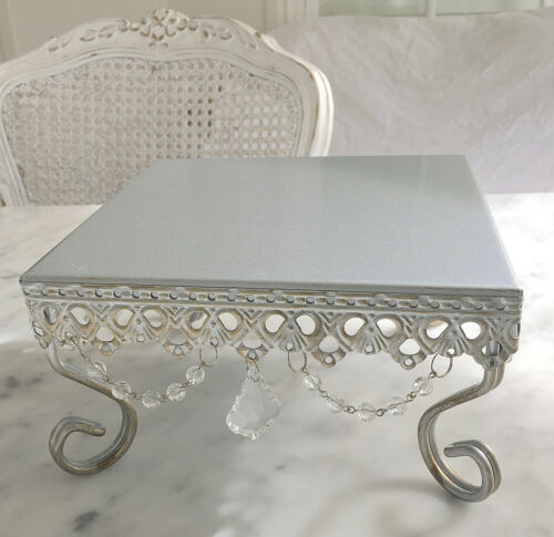 Small Silver Square Cupcake Wedding Decoraton Cake Christmas Table Display Stand