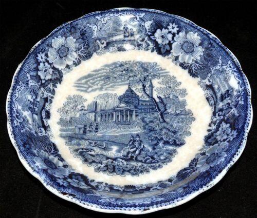 """Adams Venetian Scenery 8 3//4/"""" Bowl Flow Blue Antique W"""