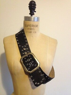 Betsey Johnson Black Leather / Lace / Silver Tone Grommets Belt Sz M/L