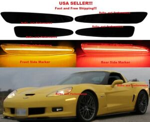 SMOKED-LENS-LED-SIDE-MARKERS-FOR-2005-2013-CHEVY-C6-CORVETTE-FRONT-amp-REAR-SET