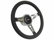 1967-1968 Pontiac Firebird 9 Bolt Tri Spoke Leather Steering Wheel, Hub & Button