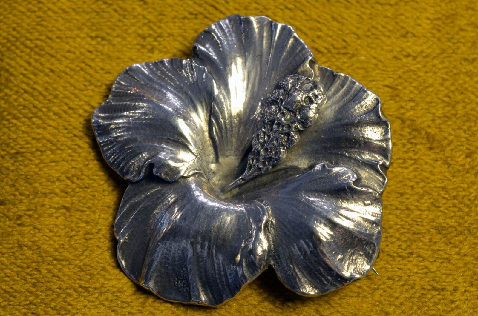 GUMP'S Cini Sterling Hibiscus Brooch, Signed