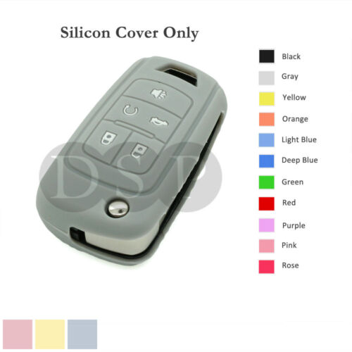 Silicone Cover Holder fit for BUICK Lacrosse Flip Remote Key Case 5 BTN 11CLR GY