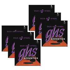 6-Pack GHS 345 Silk & Steel Light Silver-Plated Acoustic Guitar Strings (10-42)