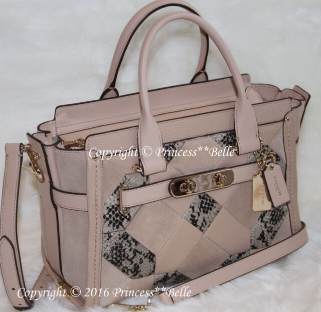 f470b0872cd COACH 37188 Swagger 27 Carryall Satchel Patchwork Exotic Leather Bag Purse   595